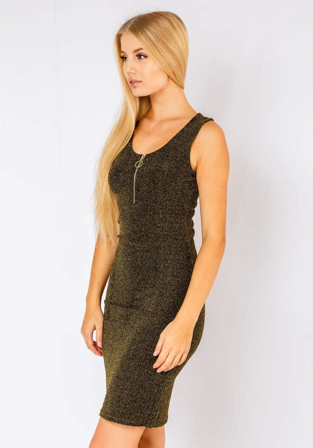 Mia Sleeveless Bodycon Dress In Olive