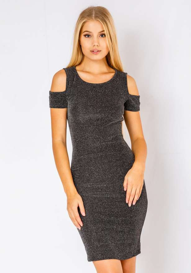 Mia Cold Shoulder Bodycon Dress In Grey