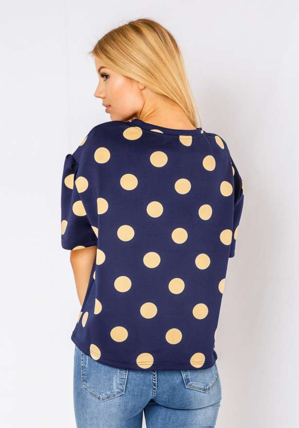 Polka Sweater In Navy