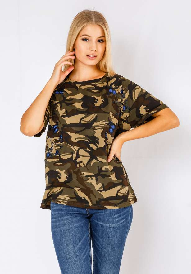 Blue Floral T-Shirt In Camo
