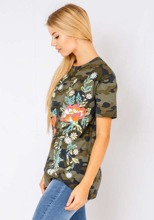 Red Floral T-Shirt In Camo