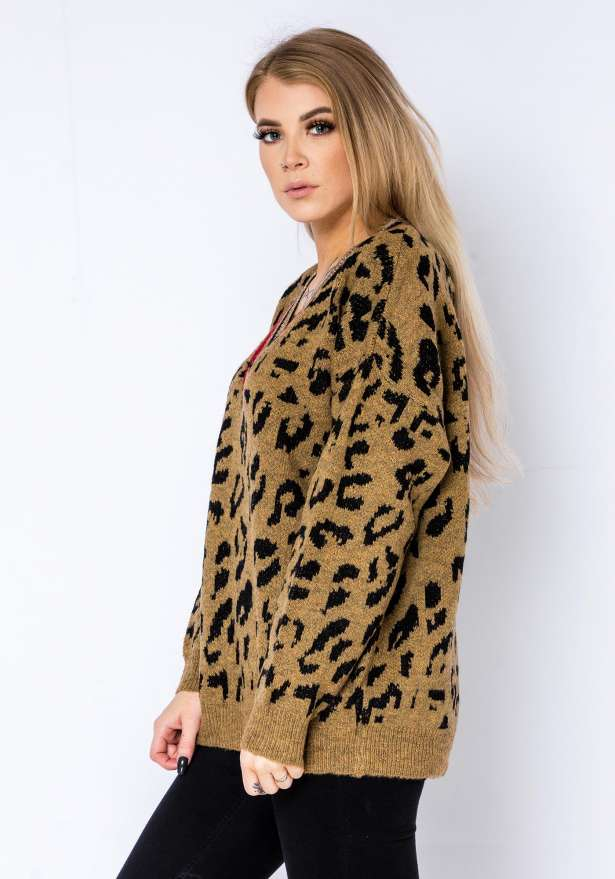 Comfy Leopard Sweater In Brown