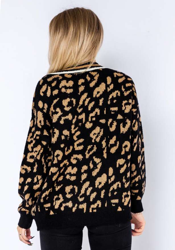 Comfy Leopard Sweater In Black