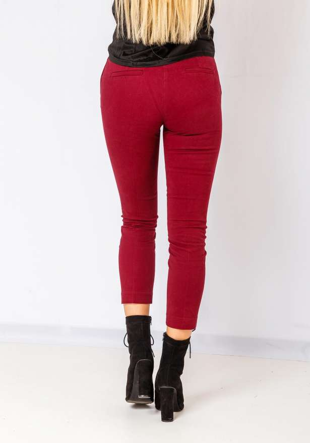 Nelli Push Up Zip Detail Pants In Wine