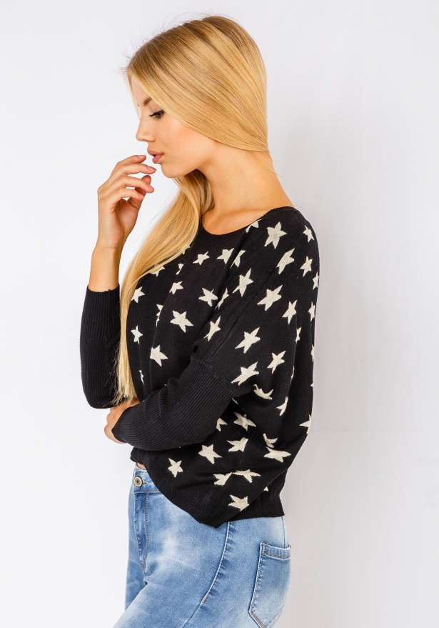 Comfy Star Sweater In Black