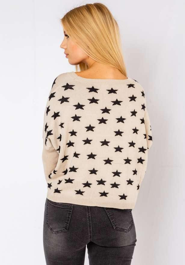 Comfy Star Sweater In Beige