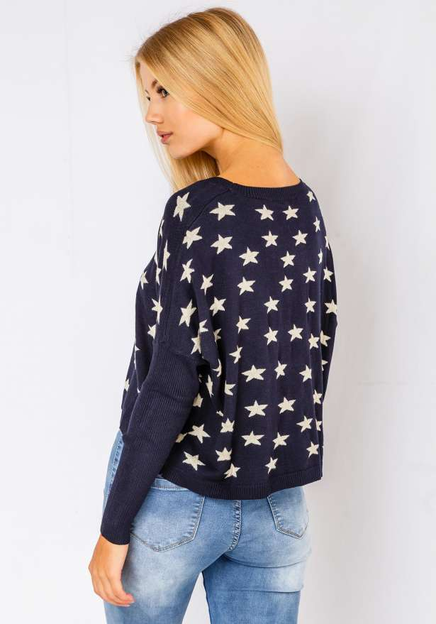 Comfy Star Sweater In Navy