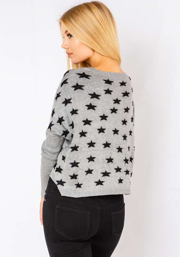Comfy Star Sweater In Grey
