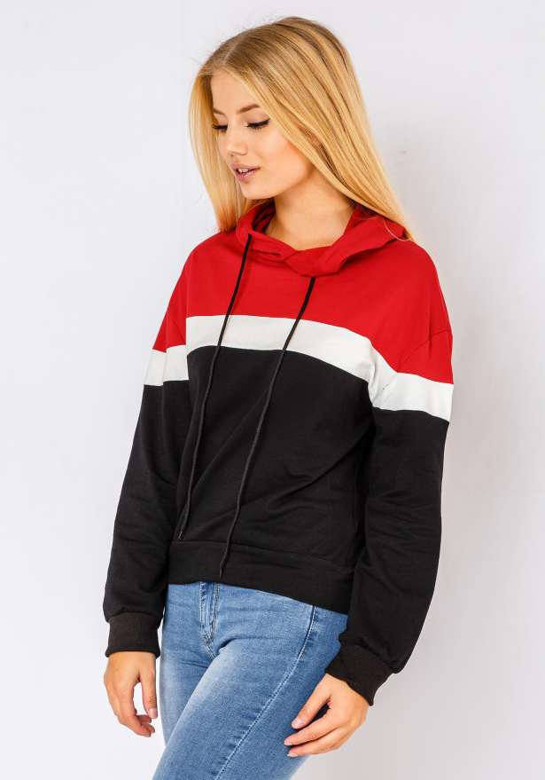 Tri-Color Lightweight Hoodie In Black