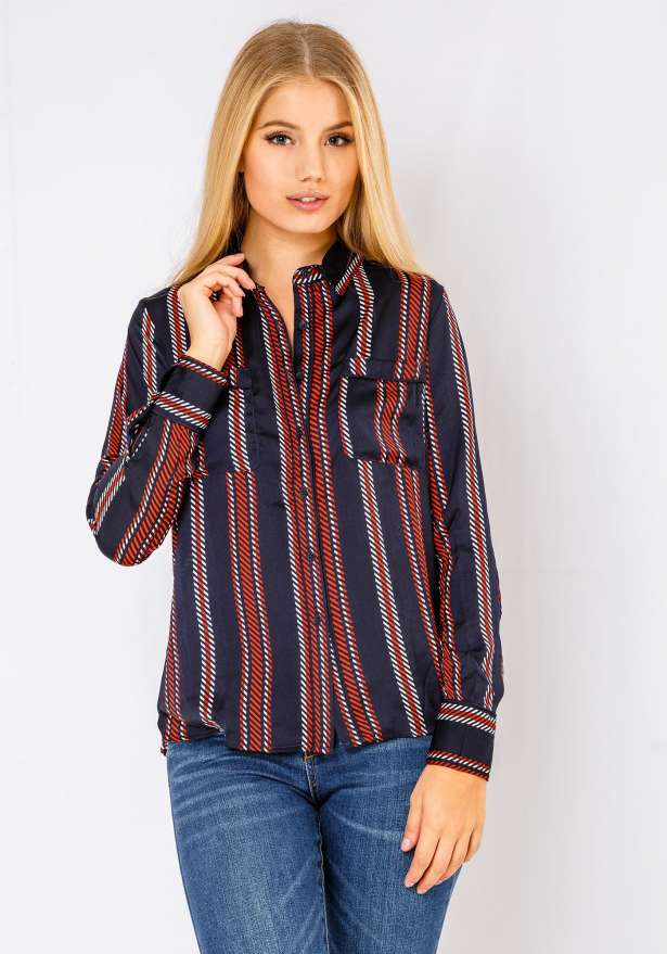Long Sleeve Button Up Wavy Shirt In Navy
