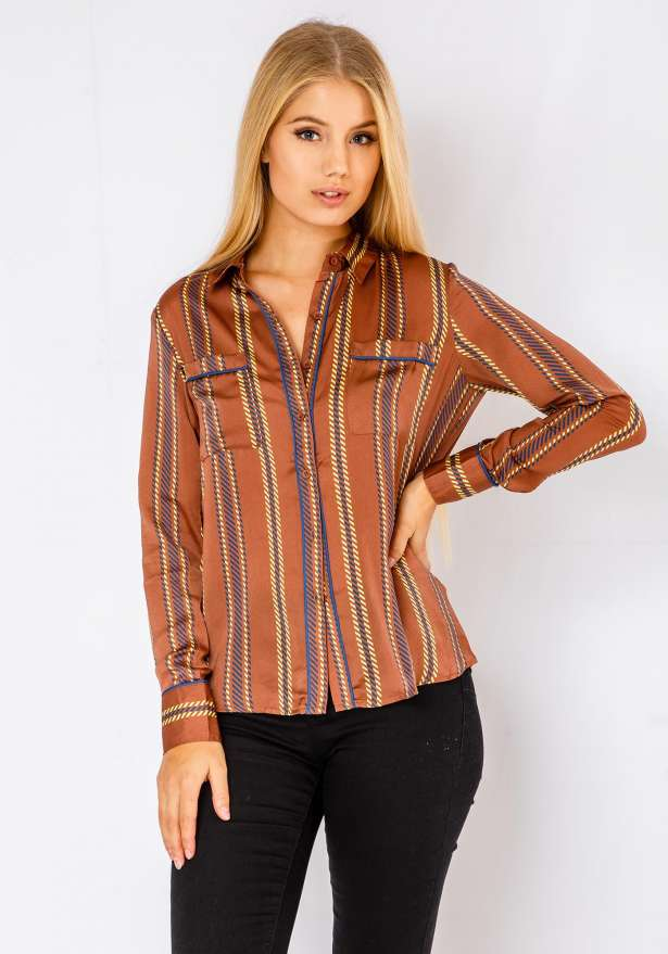 Long Sleeve Button Up Wavy Shirt In Brown