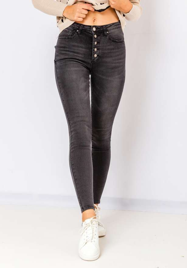 5 Button High Waist Skinny Jeans In Black