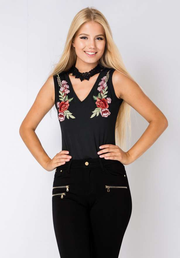 Rose Embroidered Choker Bodysuit In Black