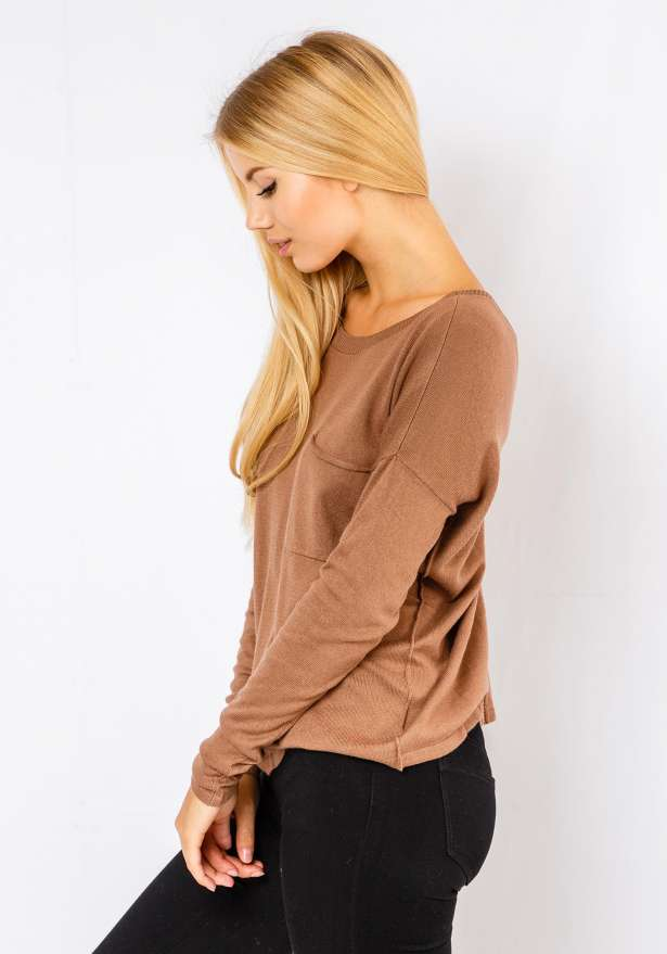Long Sleeve Loose Knit Jumper In Brown