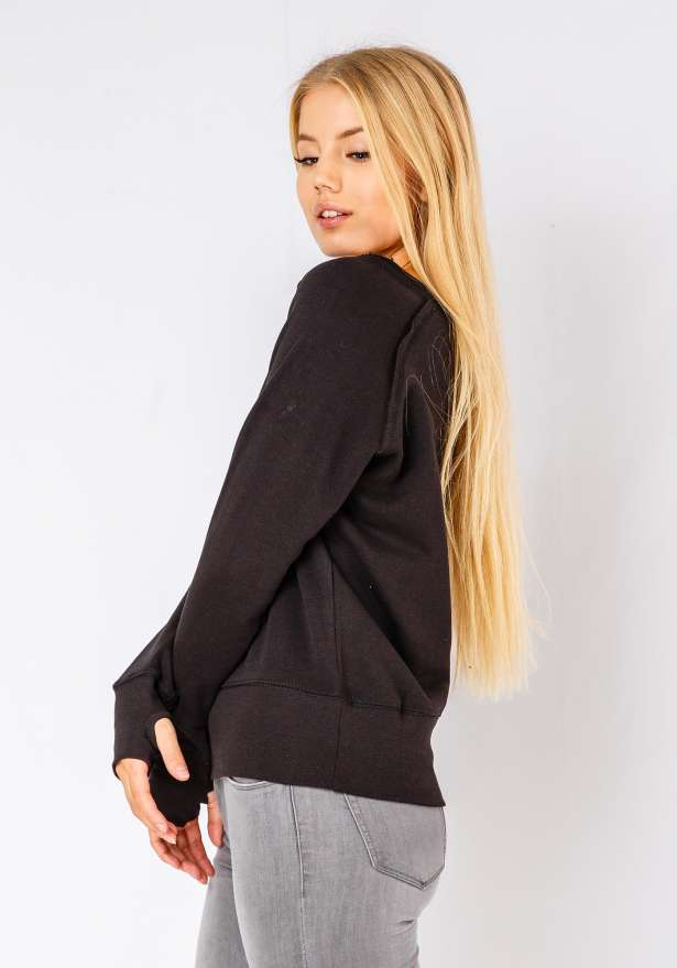 Loose Ripped Neck Long Sleeve Jumper In Black