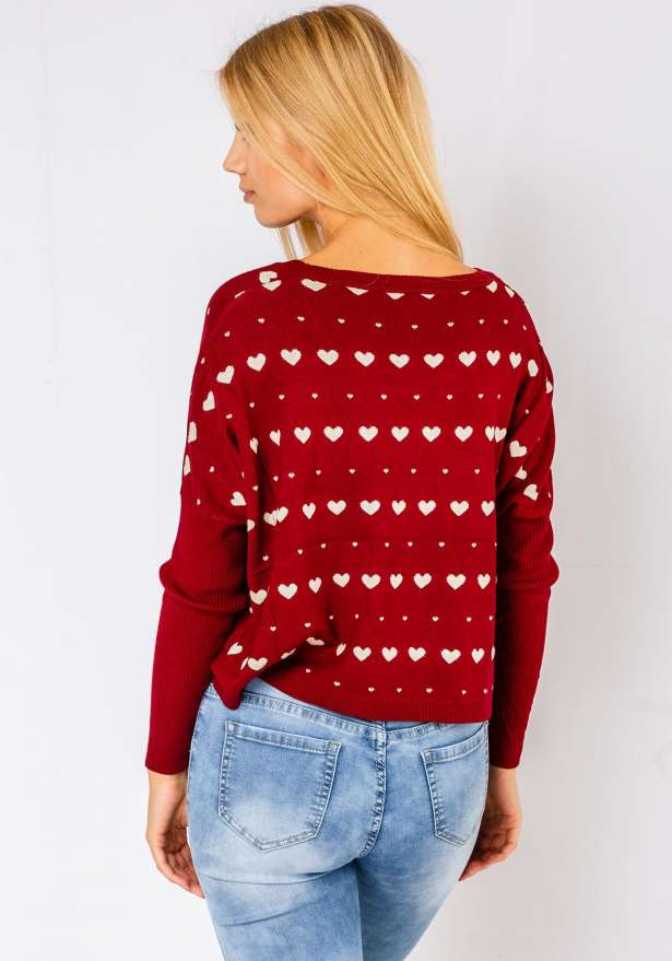 Comfy Heart Sweater In Wine