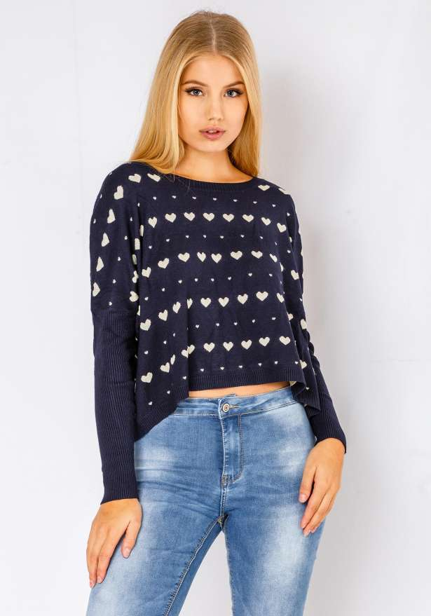 Comfy Heart Sweater In Navy