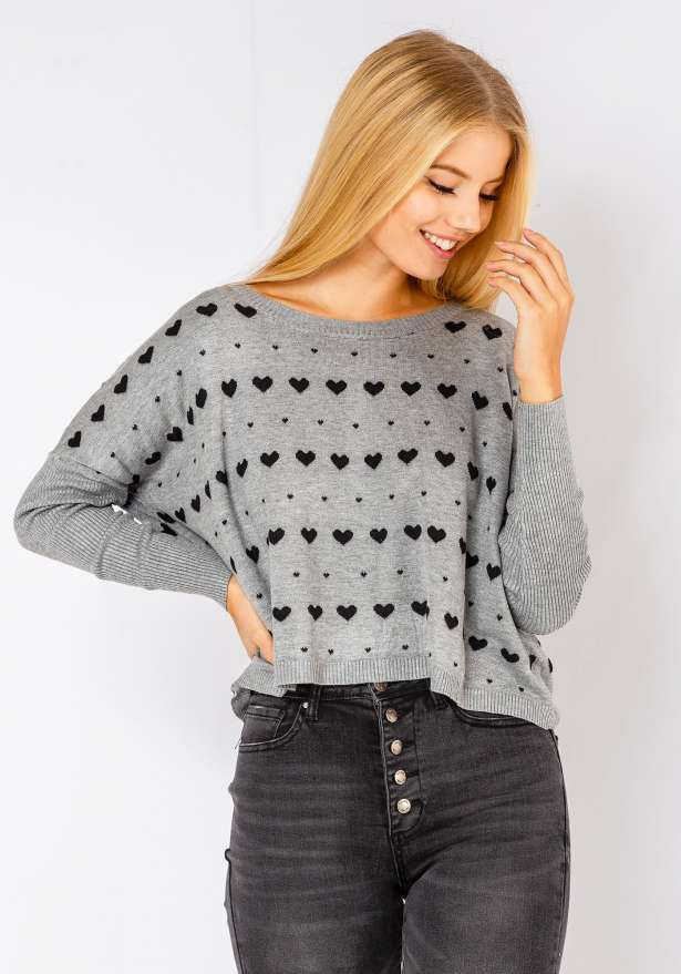Comfy Heart Sweater In Grey