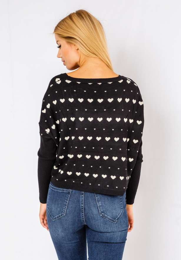 Comfy Heart Sweater In Black