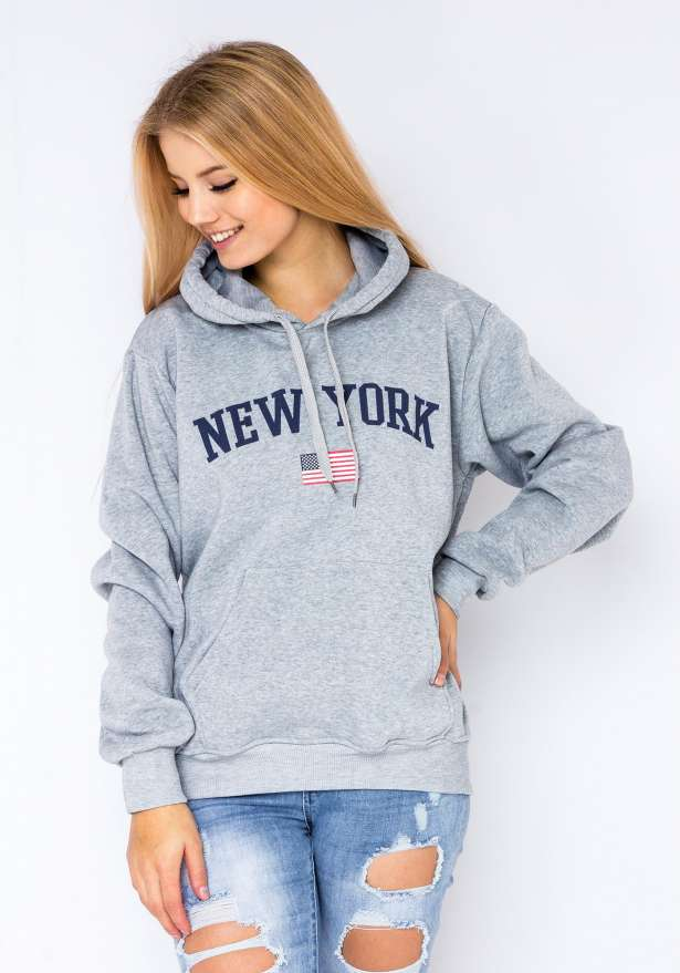 New York Flag Hoodie In Grey