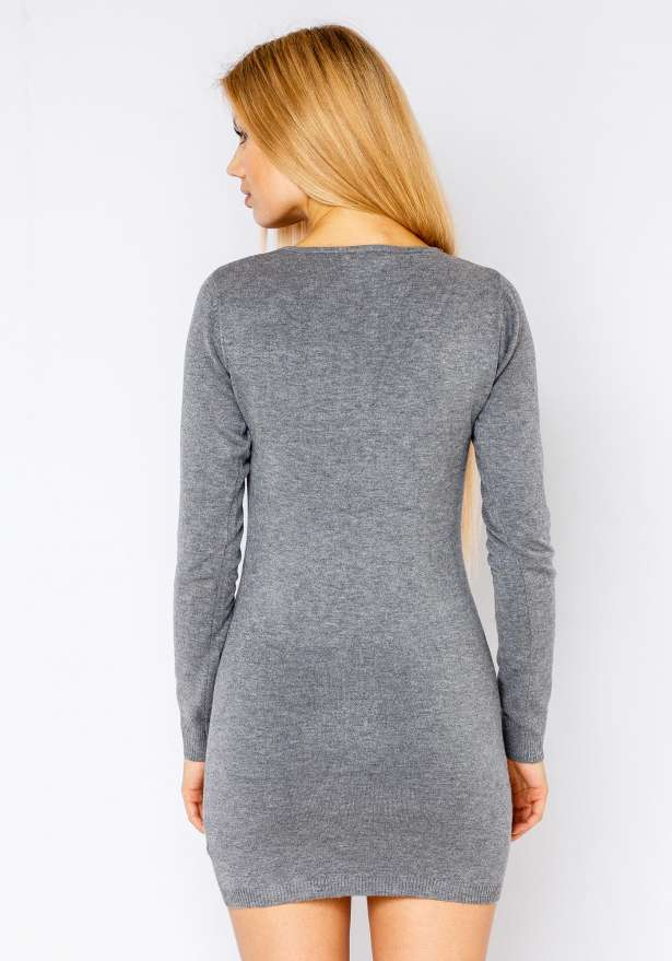 Nickie Long Sleeve Bodycon Sweater In Grey