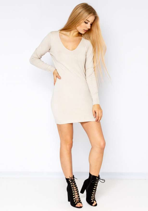 Nickie Long Sleeve Bodycon Sweater In Beige