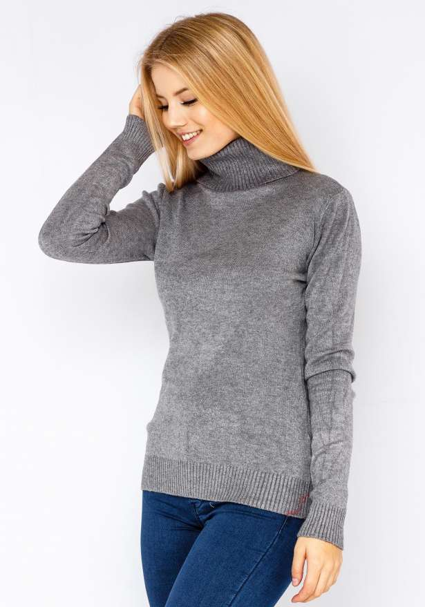 Warm Knitted Turtle Neck Sweater In Grey