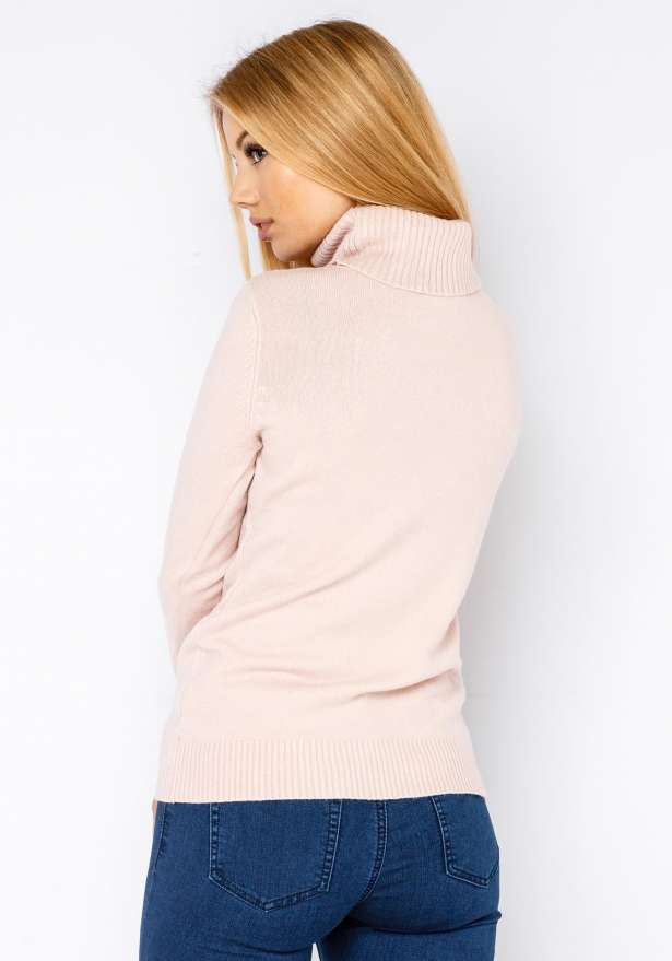 Warm Knitted Turtle Neck Sweater In Pink