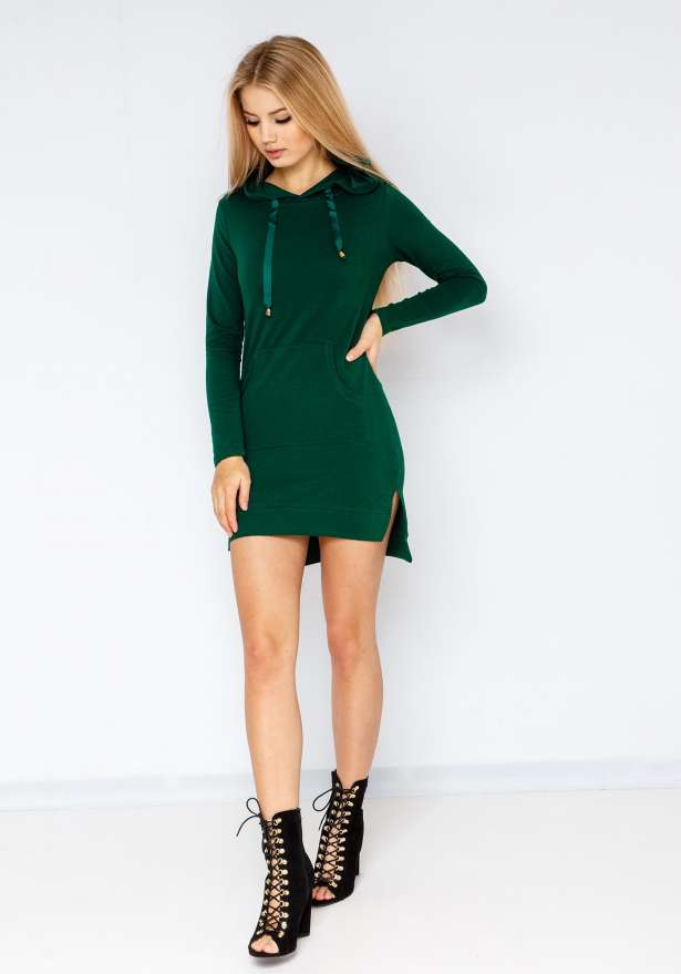 Basic Lightweight Hoodie Dress In Green