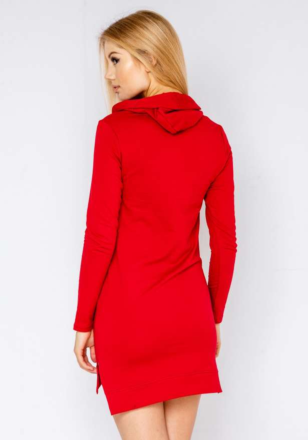 Basic Lightweight Hoodie Dress In Red