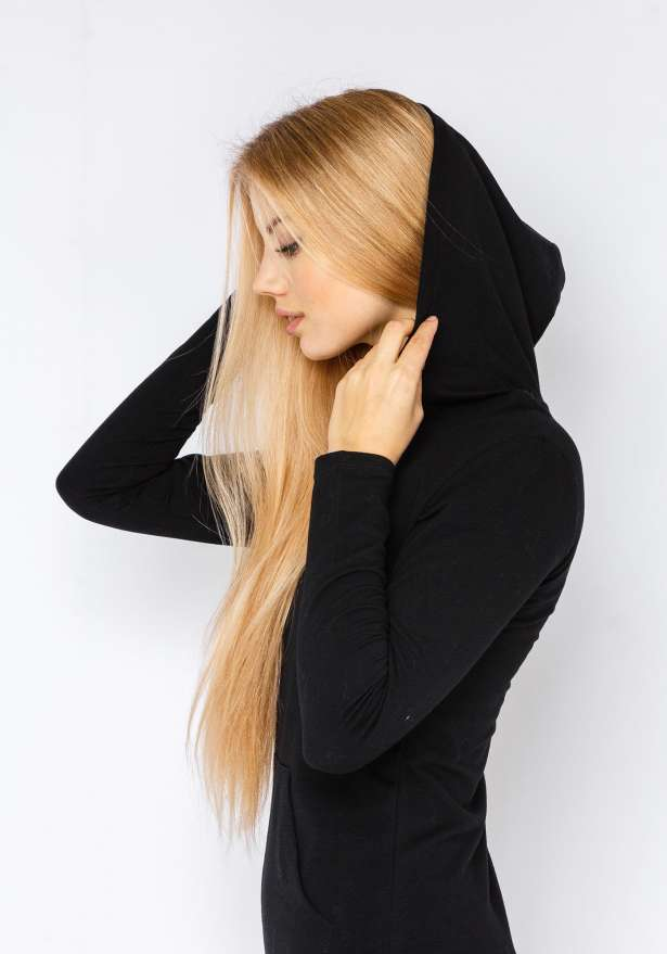 Basic Lightweight Hoodie Dress In Black