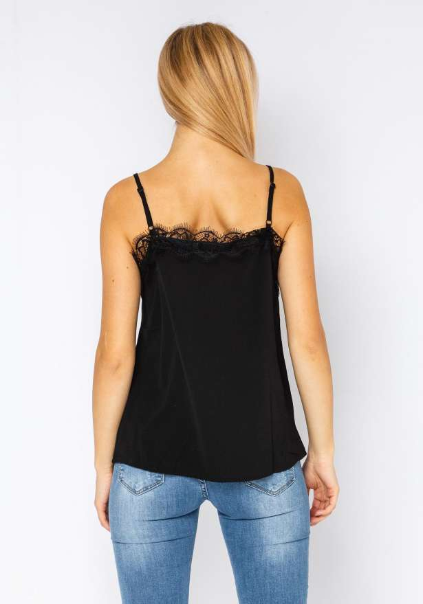 Strap Top With Buttons In Black