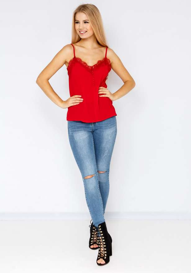 Strap Top With Buttons In Red