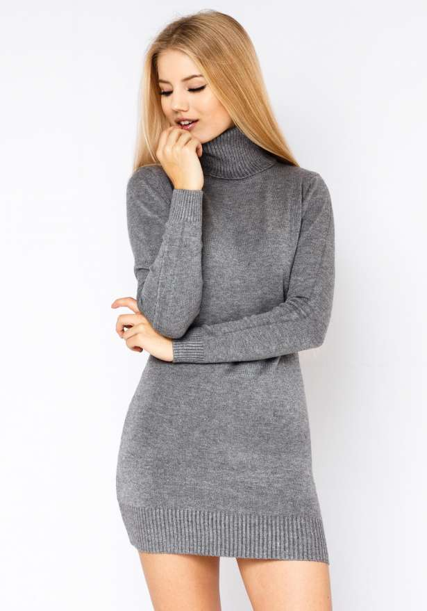 Poolo Knitted Dress In Grey