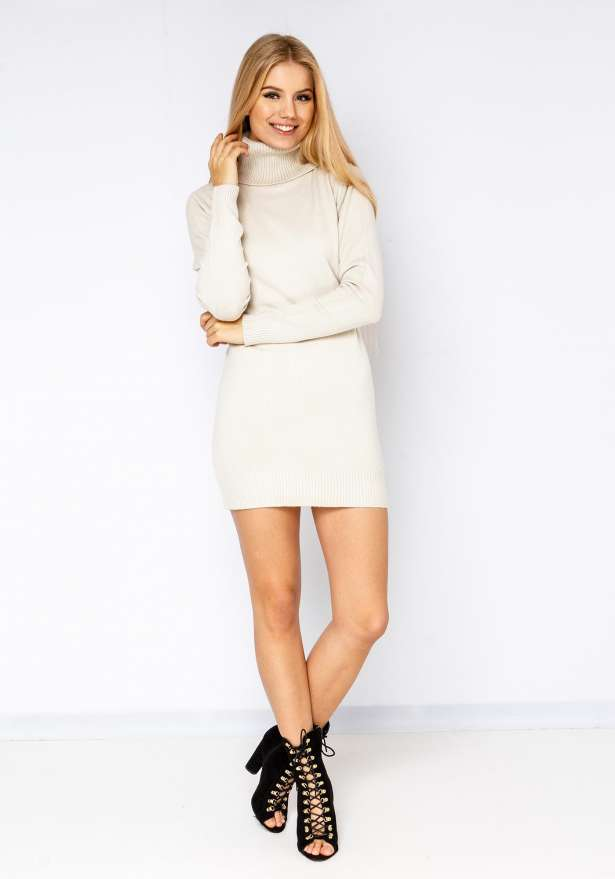 Poolo Knitted Dress In Beige