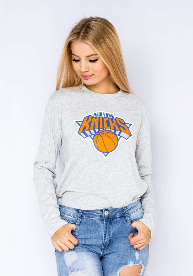 New York Knicks Longsleeve Tee In Grey