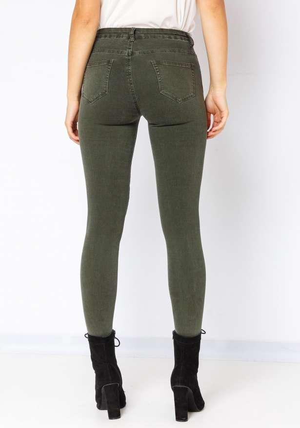 Hannah Knee Detail Skinny Jeans In Green
