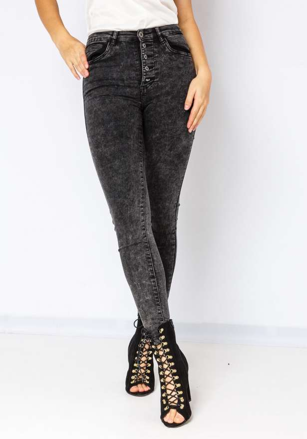 5 Button High Waist Skinny Jeans in Washed Black