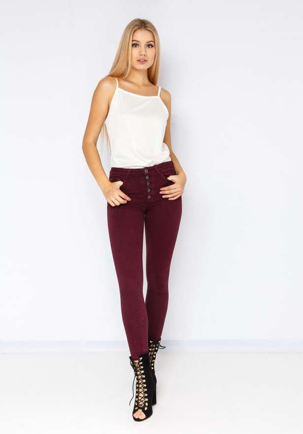 5 Button High Waist Skinny Jeans In Wine