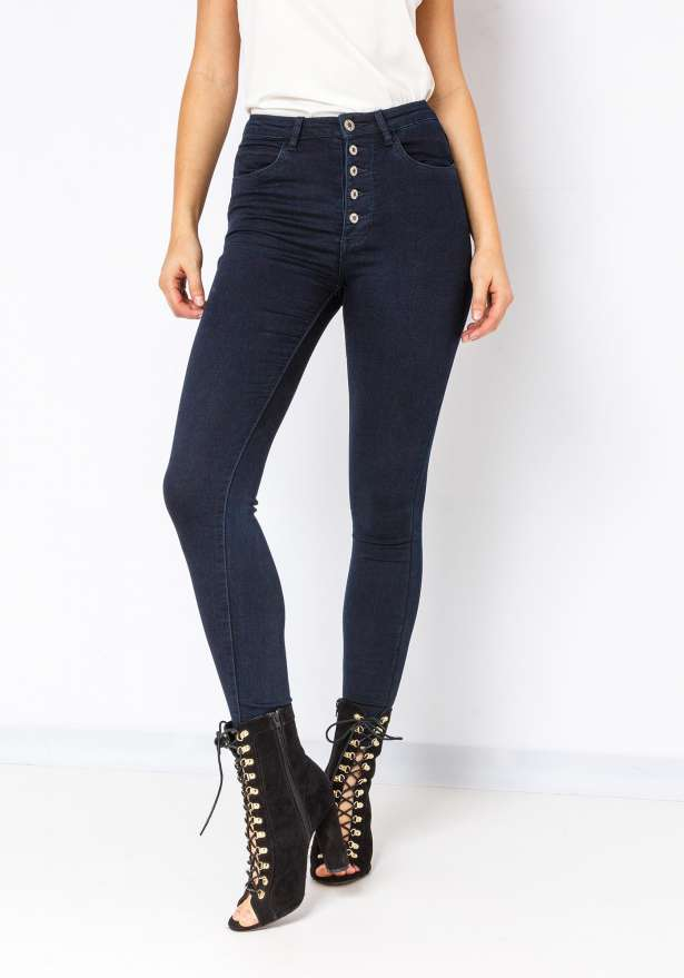 5 Button High Waist Skinny Jeans In Deep Blue