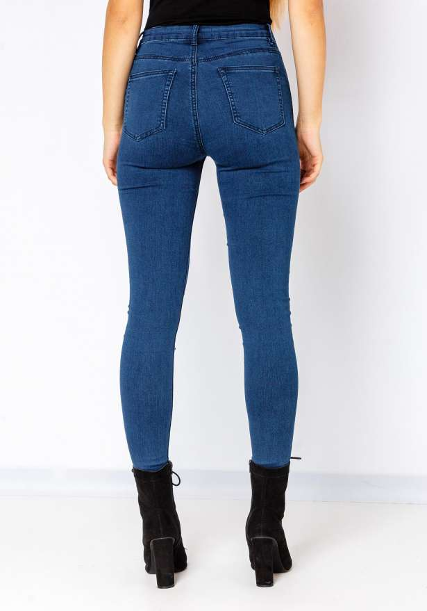 5 Button High Waist Skinny Jeans In Dark Blue