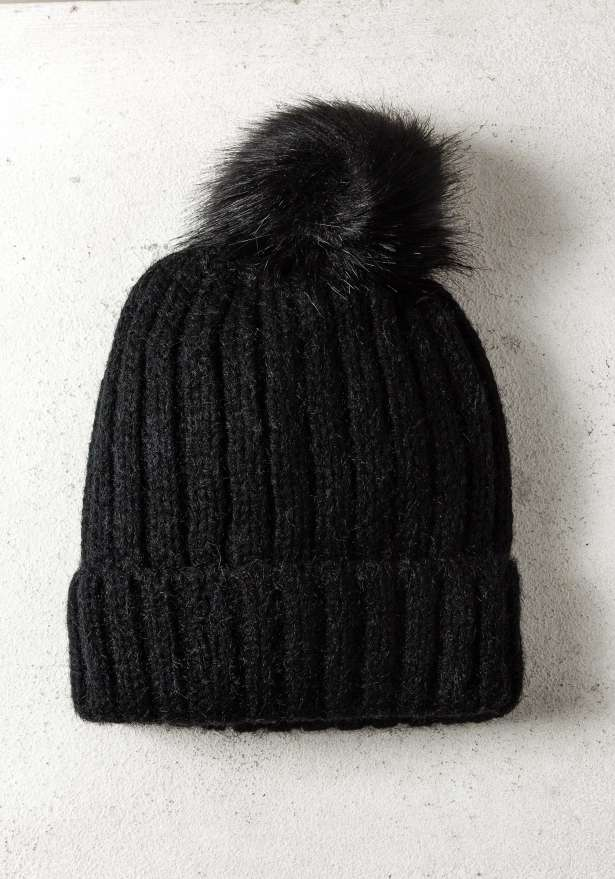 Rib-Knit Hat With Pom In Black