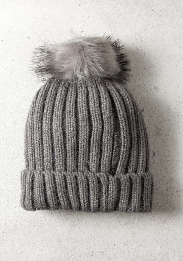 Rib-Knit Hat With Pom In Grey