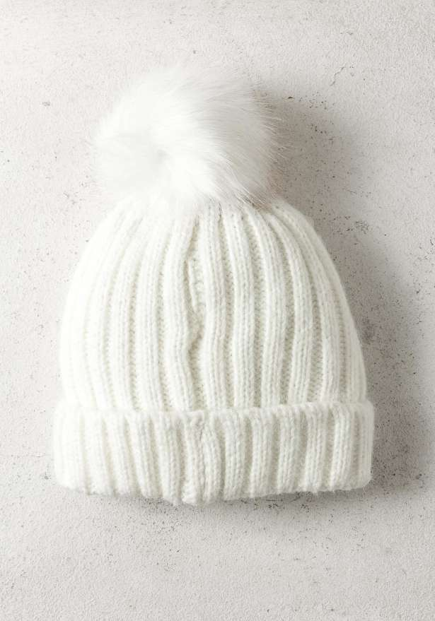 Rib-Knit Hat With Pom In White