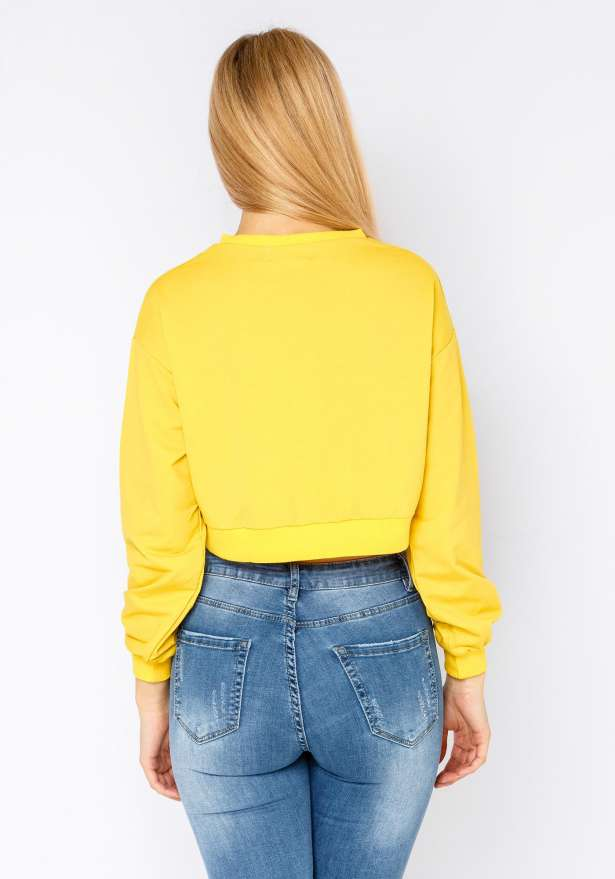 V-Neck New York Xxl Croptop In Yellow