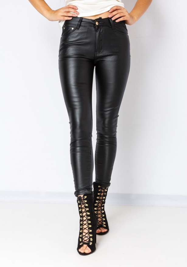 Leather Faux Pants in Black