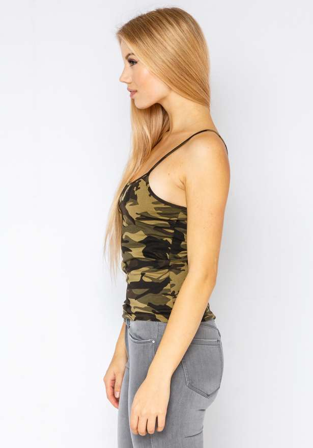 Fiorebel Strap Top In Camo Green