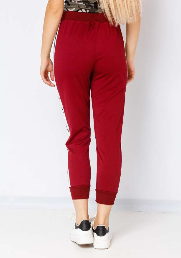 Bandidas Side Strip Sweatpants In Redwine