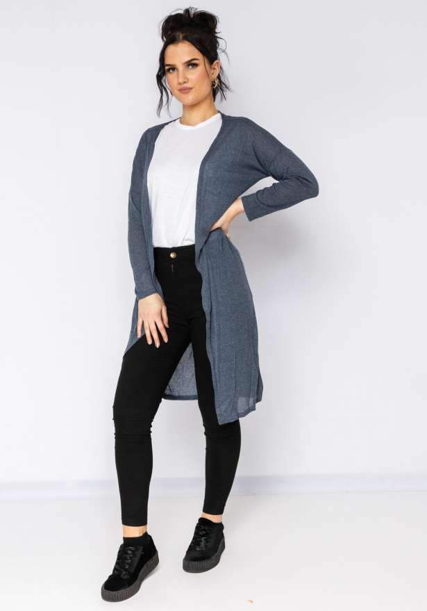 Super Chill Cardigan In Grey Blue