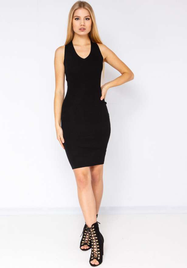 2nd Skin Ribbed Bodycon Dress In Black